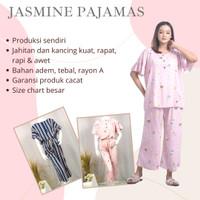 JASMINE PIYAMA RAYON BUSUI JUMBO - LD130 - BAHAN ADEM MOTIF KEKINAN
