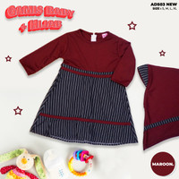 Baju Gamis Bayi Perempuan Set Hijab / Pakaian Baby Perempuan 3 8 Bulan - Pink, 3-6 Bulan
