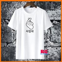 Baju Kaos Wanita Pria - Kaos Saranghae Love Korea - Putih - S M L XL - S