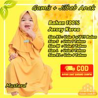 Baju Gamis Bayi Anak Perempuan Muslim Daily Nuha Mustard XS 6-11 Bulan