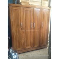 Lemari pakaian minimalis kayu jati 4 pintu model polos