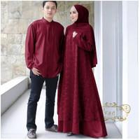 Baju Couple Muslim Kemeja Lengan Panjang Gamis Muslimah Cp Kondangan - Maroon