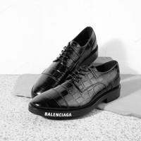 BALENCIAGA Derby shoes black croc stamp