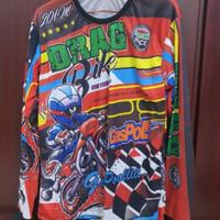 Kaos T-shirt Lengan Panjang DRAG BIKE Full Print Fit XL (Unisex)