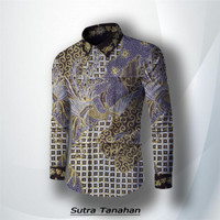 kain baju batik tulis kemeja pria 241KG - Abu-abu, all size