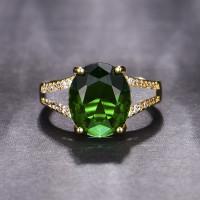 Cincin kasual wanita berlapis emas cincin giok batu akik terbuka