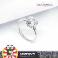 Cincin Emas Model Satu Mata Putih Whitegold Kadar : 75 %