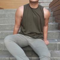 Tank Top Pria Hijau Army Oblong Premium baju gym dan santai