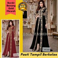 Baju Stelan Wanita Set Dress Gamis Celana Bordir Emas Mewah Cajol
