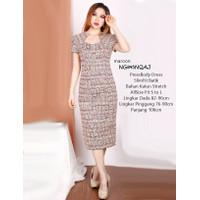 Baju Batik Modern Midi Dress Wanita Square Bodycon Cewek Fit S M L -13