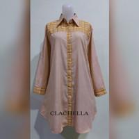 Baju Tunik Motif Polos Kombinasi Kotak, Baju Atasan Wanita T34D8021B - Kuning