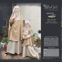 AR 06 Baju Muslim Gamis Couple Ibu Anak set Cadar Basegeh Arafah Cream