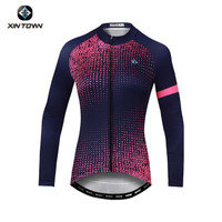 Baju Jersey Sepeda Lengan Panjang Wanita / XINTOWN LETTER TOP PINK