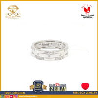 SBJ - cincin emas putih wanita perhiasan emas asli 750 CMP402 R17