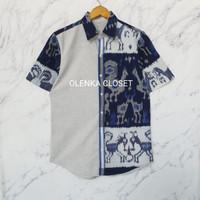 Kemeja Tenun 63 Navy Batik Pria Atasan Pria - S