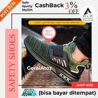 Sepatu Safety shoes sporty flip-on ringan nyaman reflektor hijau 14