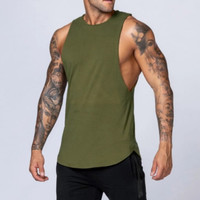 LOWCUT GREEN Singlet Gym Fitnes Kaos Training Pria baju olahraga Army