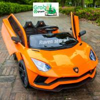 Mobil Aki Anak Lamborghini Aventador Ban Karet Bluetooth Remot Control