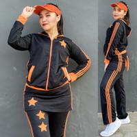Set Baju Senam Rok Hitam Orange Zumba Aerobik Hijab Muslimah