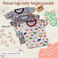 Kaos Baju Oblong Bayi Anak Lengan Pendek Kenzie Kancing Bahu UkS M L - Merah, S