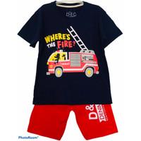 Setelan anak laki-laki mobil pemadam kebakaran usia 1-10 tahun - 12-18 bln