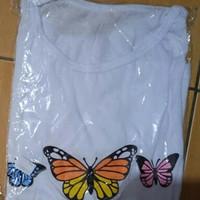 Kaos wanita gambar kupu-kupu - Putih