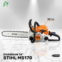 Chainsaw STIHL MS 170 komplit bar 14 inch dan rantai