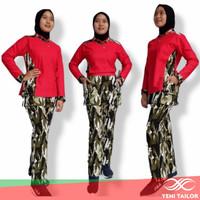 setelan baju senam wanita army abu bahan denim spandex katun - XXL