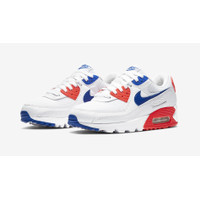 Sepatu Wanita Nike Air Max 90 White/Flash Crimson/Racer Blue Original