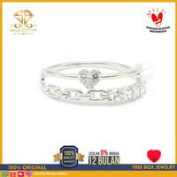 SBJ - cincin emas putih wanita perhiasan emas asli 750 CMP130 R15