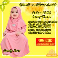Baju Gamis Bayi Anak Perempuan 4 Tahun XL Muslim Daily Nuha Candy Rose