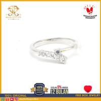 SBJ - cincin emas putih wanita perhiasan emas asli 750 CMP233 R11