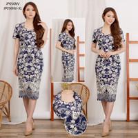 Floral Batik Dress Batik Wanita Bunga Baju Bodycon Terusan Midi Modern