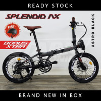 Pacific SPLENDID AX VT 2x9 Speed 20inch Sepeda Lipat Folding Bike - Astro Black, Ban 20inch