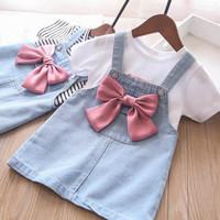 baju anak perempuan import baju overall kodok jumpsuit jeans + iner