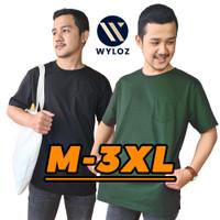 Baju Kaos Distro Pocket Polos Cowok Pria Combed 24s Wyloz Oversize 30s