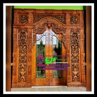 Pintu Rumah Motif Gebyok Ukir Jepara Model terbaru kayu jati jepara