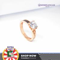 Cincin Emas Model Satu Mata Putih + Listing Hitam Rosegold Kadar 750 %