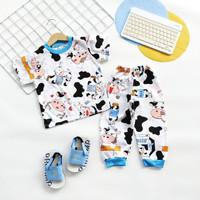 Setelan LP Piyama Anak Kaos Full Print Tee Baju Tidur Nyaman Moo 1-6th
