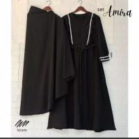 AMIRA+gamis+jilbab set Jumbo size L XL XXL XXXL 5L   GAMIS JUMBO - Hitam, L