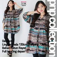 pnp Kemeja Wanita Jumbo Baju Atasan Bigsize Rayon Motif Terbaru