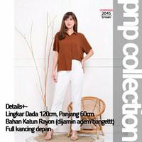pnp Baju Atasan Kemeja Wanita Jumbo Blouse Lengan Pendek - 2045 Brown