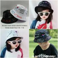 Topi Bucket Anak Hat Fashion Graffiti Korea / fisherman - HITAM - Putih