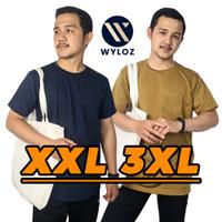 Baju Kaos Jumbo Big Size Oversize Distro Polos Kantong Cowok Pria 24s