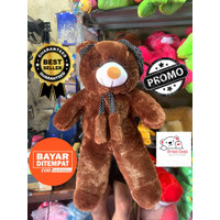 Boneka teddy bear beruang topi syal jumbo besar murah 1meter