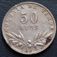 Uang Koin Perak Kuno 50 Avos Timor Leste Tahun 1951 Silver Coin
