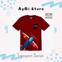 [ Kozzo Kids ] - Baju Kaos Anak Laki-laki - 2-12T - Red Plane - Cotton - 2-3 tahun