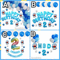 Paket Balon Dekorasi Ulang Tahun Anak Doraemon Happy Birthday Set Biru