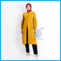 Tunik Wanita Muslim Jumbo Shakila Baju Atasan Wanita Muslim Tunik - Mustard