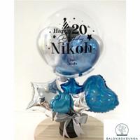[READY 1 HARI] Foil Balon Box Blue Silver Graduation/ Birthday